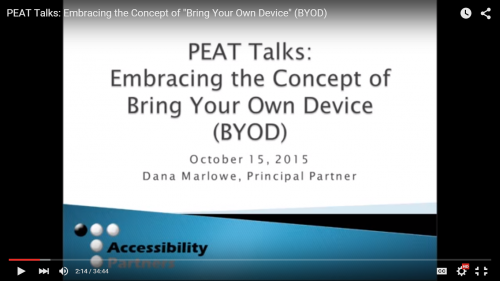 Screeshot of our BYOD talk on YouTube