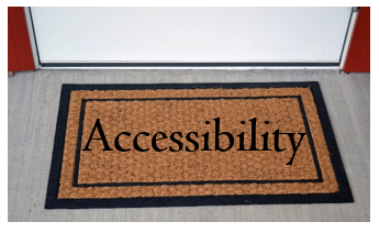 Image of a door mat with the word 'Accessibility' printed on it