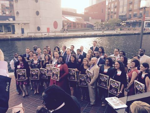 Dana at the Inner Harbor in Baltimore with other award winners