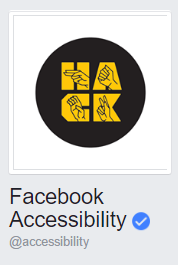 Facebook Accessibility Logo, spelling HACK with sign language