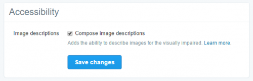 Image description prompt on Twitter settings (under accessibility)